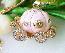 Betsey Johnson Pink Priness Pumpkin Carriage Pendant Necklace