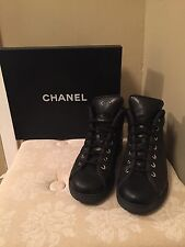 CHANEL Quilted Black Leather Lace Up High Top Sneaker 38.5 EUC