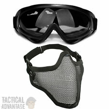 Airsoft X400 Grey Lens Goggles + Mesh Wire Mask Full Face Protection Glasses