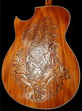 "Blueberry NEW Jumbo ""Tiger"" Motif Acoustic Guitar with a Grooved Top"