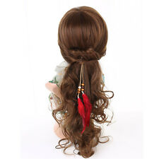 Red Feather Clip On Hair Extension With Synthetic Strip Highlight for Women