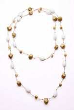 TOFFEE & WHITE GLASS BEADS & STRING LONG STYLEABLE BEACH-READY NECKLACE (ZX42)