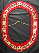 Royal Arch Chain Collar Regalia with Red Backing Masonic Jewel York Rite Officer