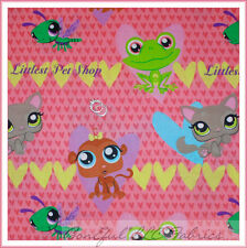 BonEful Fabric Cotton Quilt PINK Cat Frog Pet Shop Heart Flower Monkey FQ SCRAP