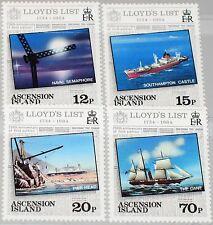 Ascension 1984 360-63 351-54 buques ships Lloyd 's list 250 Ann newspaper mnh