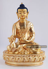 "8"" Medicine Buddha Gold Gilded with Face Painted Copper Statue from Patan, Nepal"