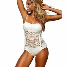 """Thalia"" White Lace Halterneck Monokini/Swimsuit Size M 8/10 boutique Swimwear"