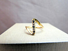 10k Yellow Gold Diamond Sappire Ring Marked JED Size 6.5 Retro Cool Modernistic