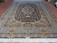 9' X 12' Vintage Fine Hand Made Persian Tabriz Wool & Silk Rug Black Signed Nice