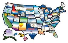 RV map of USA states stickers travel trailer adhesive decal kit 17 X 11 in