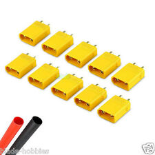 10 X MALE XT30 LIPO BATTERY CONNECTORS & HEATSHRINK RC PLANE HELICOPTER 250 QUAD