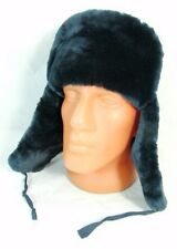 Russian MVD Police Officer Blue Mouton Sheepskin Fur Ushanka Hat Badge 59cm L
