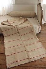 Antique European linen hemp duvet mattress comforter cover red stripes c1900 old