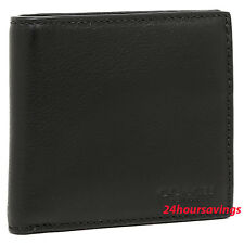 COACH MEN BILL COIN CREDIT CARD SPORT CALF BLACK LEATHER WALLET PURSE F75003