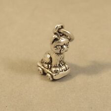 .925 Sterling Silver 3-D KITTEN ON A CART CHARM NEW Pendant Kitty Cat 925 CA19