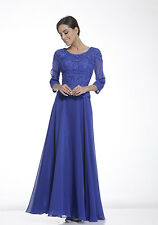 Elegant Simply Modest Long Mother of the Bride Dress Formal Royal Blue