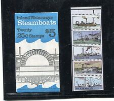SC BK166  5 DOLLAR BOOKLET  20 25 CENT STEAMBOATS STAMPS  MNH  SCV $ 10.00