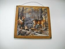 Deer Family Doe Buck Fawns Hunting Wooden Wall Art Sign Lodge Cabin Decor Camper