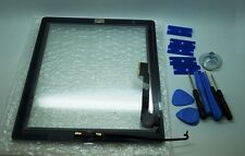 BRAND NEW IPAD 4 BLACK DIGITIZER, TOUCH SCREEN, FRONT GLASS , 3M TAPE + TOOLS