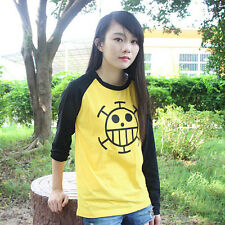Top Anime One Piece Trafalgar Law Cotton Shirt Long Sleeve Tshirt Tee Clothing