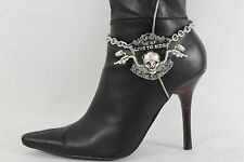 New Women Boot Bracelet Silver Metal Chain Anklet Shoe Charm Live To Ride Biker