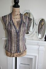 BNWT Nicole Farhi Silk Blue Stripe Sheer Blouse Shirt UK 10 RRP£190 -70%