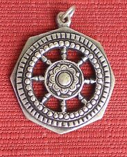 Silver-Plated Tibetan Medallion for Dharma - Wheel of Life Motif