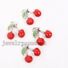 6pcs Wholesale New Enamel Alloy Cherry Charms Pendants Fit Jewelry Decorations J
