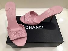 NIB Auth CHANEL Pink Leather Camellia Flower Stiletto Heel Mules/Slides 40 9