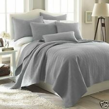 NEW 3-PC Set Levtex Home King Size Gray Cotton Splendor Geometric Quilt $330