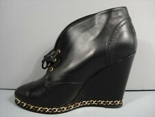 CHANEL BLACK LEATHER LACE UP GOLD CHAIN WEDGE BOOTIE ANKLE BOOTS 37/7 NEW $1421