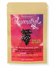 RESVERATROL 98% & RED GRAPE EXTRACT -  500mg x 60 caps RRP: £15.99