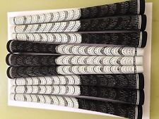 New Set of 9 White and Black Multi Compound Golf Grips + Tape corded cord