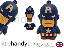 Lindo Marvel Cartoon Capitán América Usb 8gb Flash Drive Memory Stick De Regalo Anillo