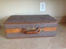 Vintage Hartman Tweed Leather Carry On Suitcase Luggage combination Lock 21""