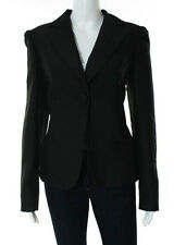 BOTTEGA VENETA Dark Green Black Wool Notched V Neck Blazer Size Italian 46 $2650