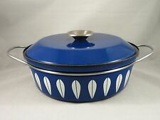 Vtg CATHERINEHOLM Norway BLUE LOTUS Enamel HANDLED CASSEROLE Dutch Oven Saucepan