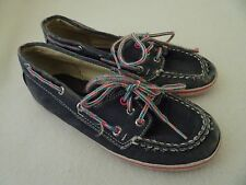 SPERRY TOPSIDER GIRLS SIZE 1 M BOAT SHOES-GRAY WITH PINK/BLUE LACES-PLAY/SCHOOL