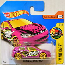 HOT WHEELS 2017 HW ART CARS VOLKSWAGEN GOLF MK7 #6/10 PINK SHORT CARD