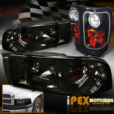 94-01 Dodge Ram 1500 2500 3500 Shiny Smoke Headlight w/Signal + Black Tail Light