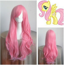 hot My Little Pony Fluttershy Long Pink Curly Cosplay Wig +Gift