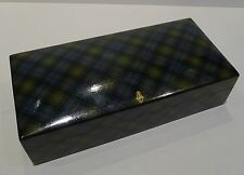 "Pristine Antique English ""Louise"" Tartan Ware Sewing / Thread Box - 1858"
