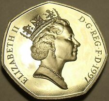 Small Type Gem Cameo Great Britain Proof 1997 50 Pence~Britannia Seated~Free Shi