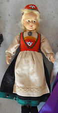"Vintage 1930s Jointed Celluloid Ethnic Girl Doll 9 1/2"" Tall"