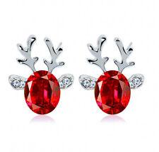 Xmas Ear Stud Earrings Crystal Christmas Deer Elk Women Jewellery