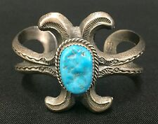 Vintage Turquoise Sandcast Cuff Bracelet *Native American Indian *Dead Pawn*
