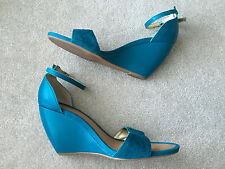 Anthropologie SEYCHELLES THYME WEDGE Ankle Strap Sandals High Heels 8.5 Teal EUC