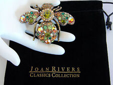 NEW Joan Rivers LG Emerald Green Peridot BEE PIN Bug Brooch Crystal Rhinestones!