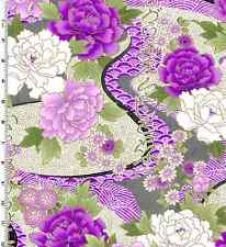 "Kona Bay - Exotic Garden - Purple Asian Floral Cotton Fabric- 12y 33"" -Free Ship"