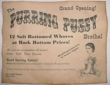 Purring Pussy Brothel Novelty Poster Handbill, old west, western, wanted